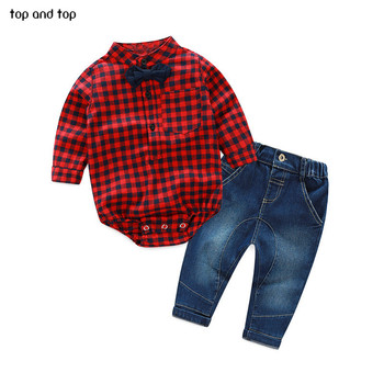 TOP and TOP Baby Boy Clothes Newborn Clothing Sets Broadcloth Cotton Gentleman Fashion Plaid Rompers + Jeans 2Pcs/set