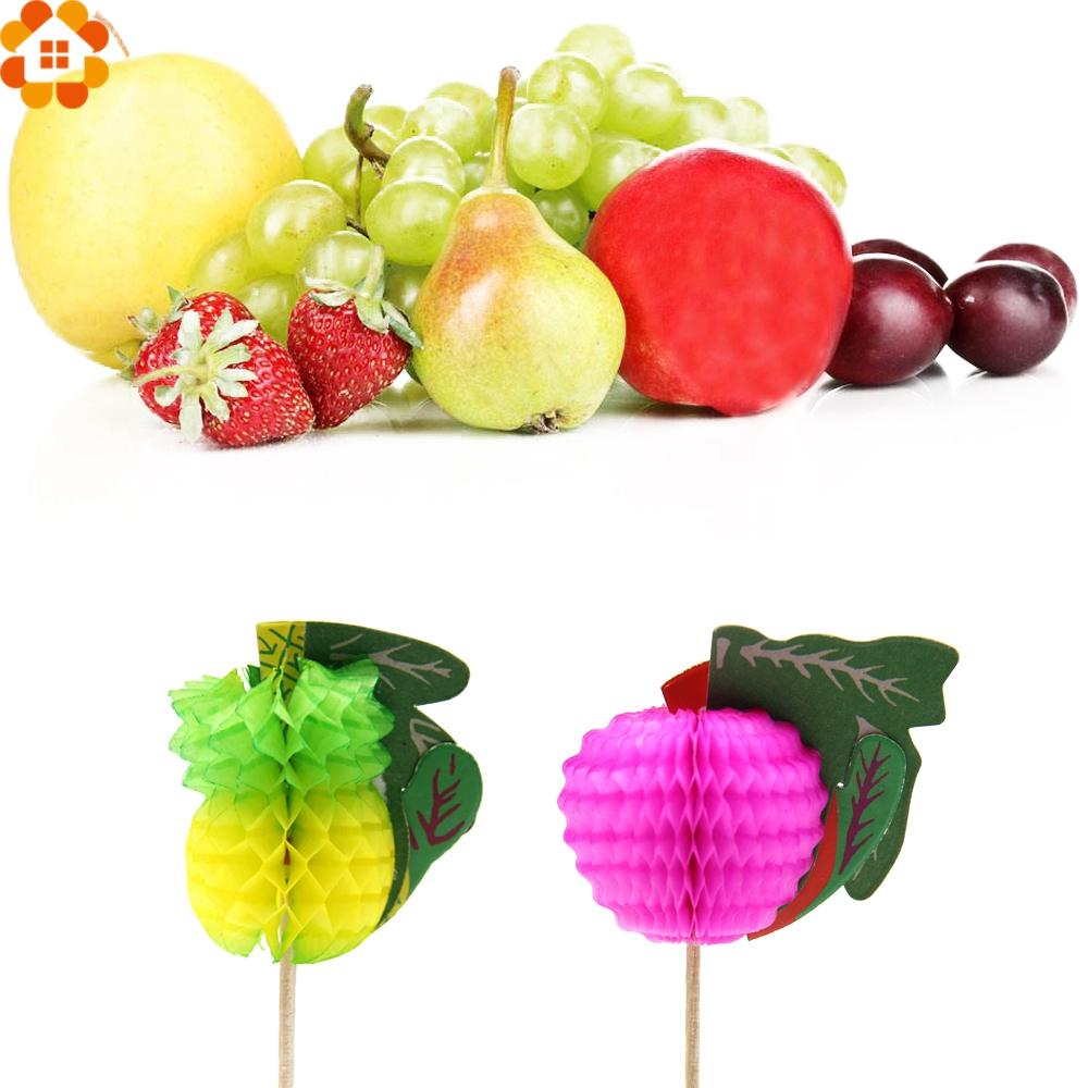 50PCS 3D Fruit Cake Topper Picks For DIY Summer Pool Party/Kids Birthday/Wedding Party Decoration Baby Shower Supplies