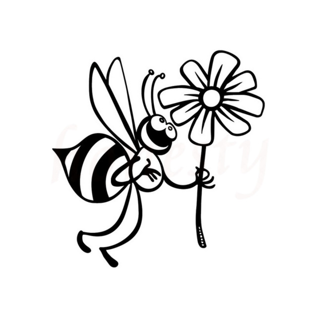 Cute bee and beautiful flowers car stickers wall home glass window door laptop truck bumper van