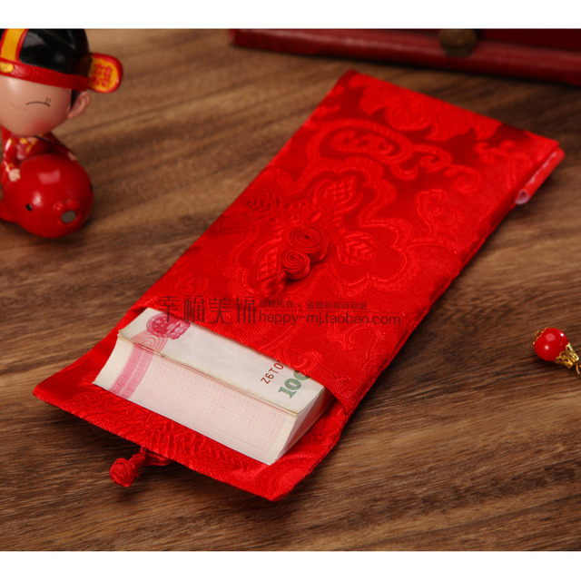 Chinese wolken patroon dubbele ronde Chinese knop Chinese bruiloft doek rode pakketten gift enveloppen