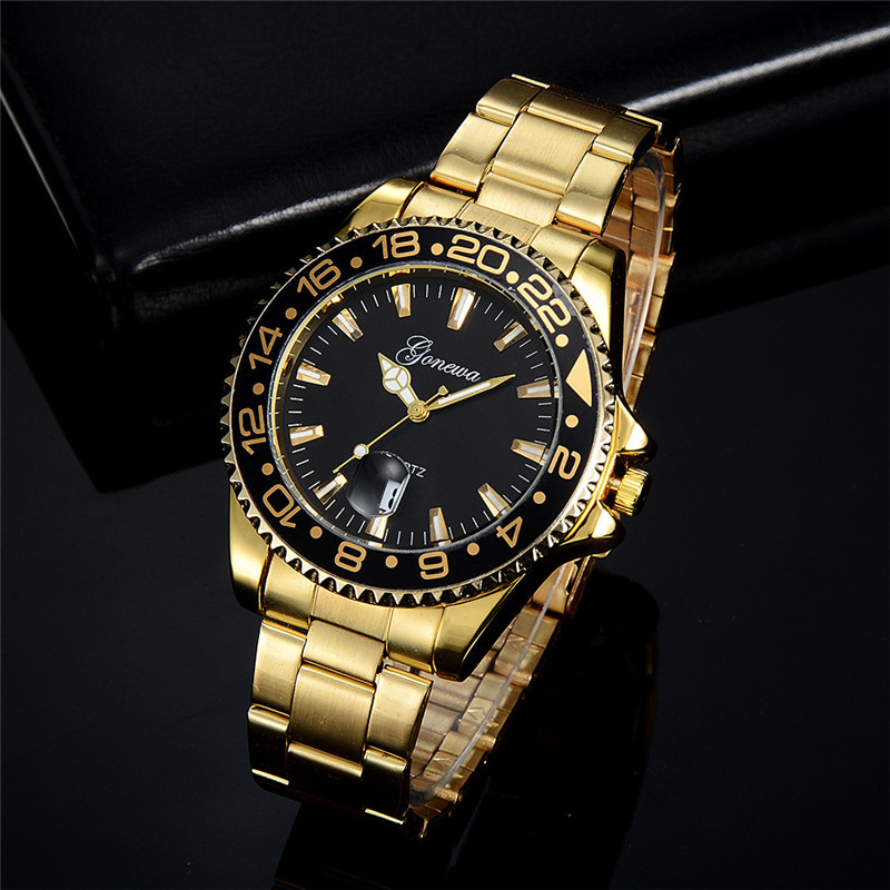 цена на 2018 GONEWA Men Fashion Military Stainless Steel Date Sport Quartz Analog Wrist Watch Z906 5Up