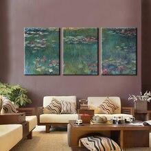 Toile de peinture à l'huile avec 3 panneaux de la célèbre nymphe de paul Monet, peinture à l'huile pour salon, décor mural de maison, cadeau