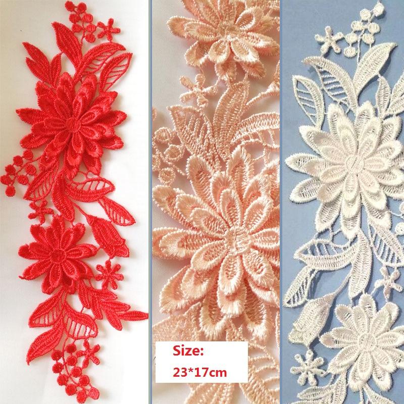 2pairs Colors Flower 3D Lace Appliques Embroidery Patches Trim Lace Patches For Clothing Bridal Dress Decoration