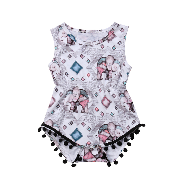50a64fbc6fd0 2018 New Tassel Newborn Baby Girls Romper Jumpsuit Elephant Pattern Fashion Cute  Clothes Outfits Age 0-18M