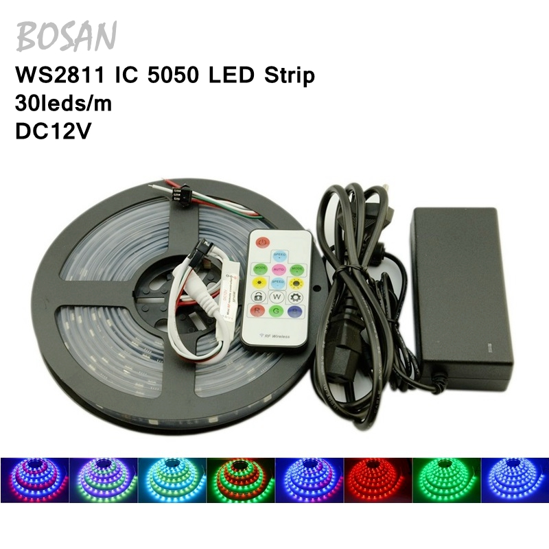 New Arrival 5M 150Leds Waterproof RGB Led Strip Light WS2811 5050 SMD DC12V Flexible Light Led Ribbon Tape Home Decoration Lamp 10m 5m 3528 5050 rgb led strip light non waterproof led light 10m flexible rgb diode led tape set remote control power adapter