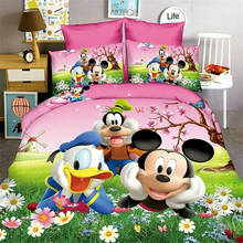 3D Mickey Minnie bed linen sinlge size girl baby bedspread cartoon bedding set 3pc 1*comforter cover+2*pillow cases boy kid gift цены
