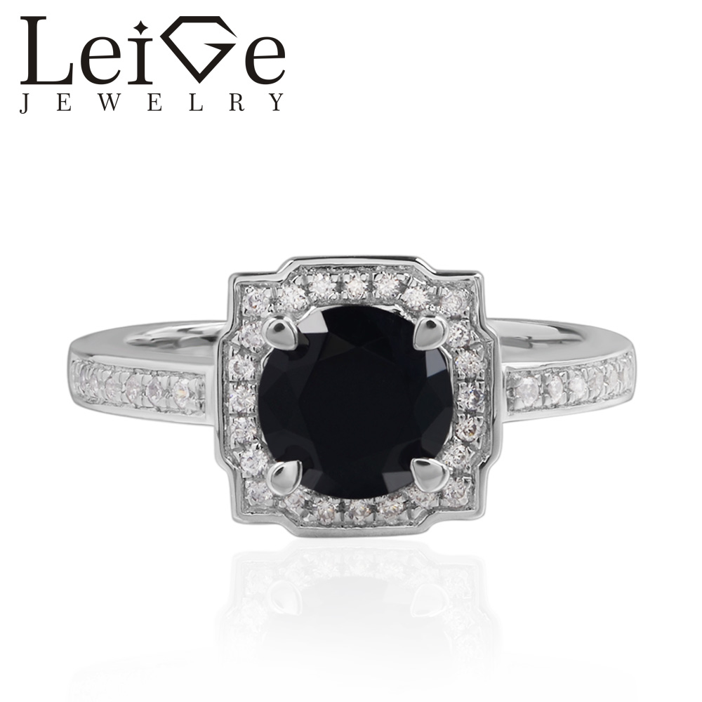 Leige Jewelry Natural Black Spinel Rings Round Cut Halo Wedding Rings For Woman 925 Sterling Silver Romantic GiftsLeige Jewelry Natural Black Spinel Rings Round Cut Halo Wedding Rings For Woman 925 Sterling Silver Romantic Gifts