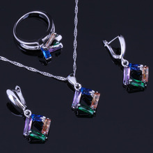 Quadrilateral Multigem Multicolor Cubic Zirconia 925 Sterling Silver Jewelry Sets For Women Earrings Pendant Chain Ring V0975