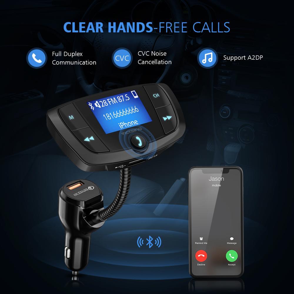 מקרנים ופלאזמות VicTsing Bluetooth FM משדר רכב אלחוטי רדיו Bluetooth מתאם QC3.0 Dual USB משחק MP3 Quick Charge עם 1.44? Display (3)