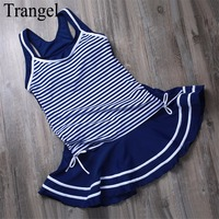 3 Pieces Tankini Bikini Set Stripe Pattern Bikini Suit Conservative Women Swimwear Short Skirt And Pants