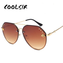 COOLSIR 2019 Vintage Pilot Sunglasses Women Luxury Golden Be