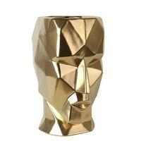 Gold Geometriac Man Face Flower Pots Planters Home Decorative Vase