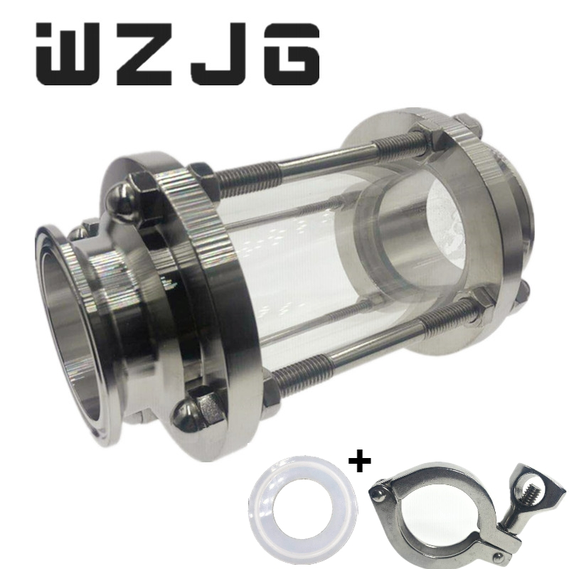 WZJG New 2 Tri Clamp Type Flow Sight Glass Diopter For Homebrew Diary Product Stainless Steel SS304 Ferrule OD 64mm