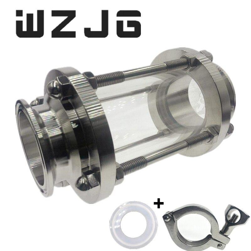 WZJG nouveau dioptrie de verre de vue d'écoulement de Type de bride de 2 pour le journal de Homebrew produit acier inoxydable SS304 virole OD 64mm