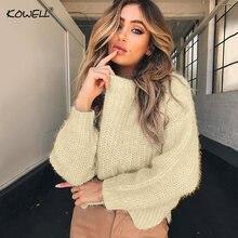Осенне зимний вязаный свитер с круглым вырезом и длинным рукавом