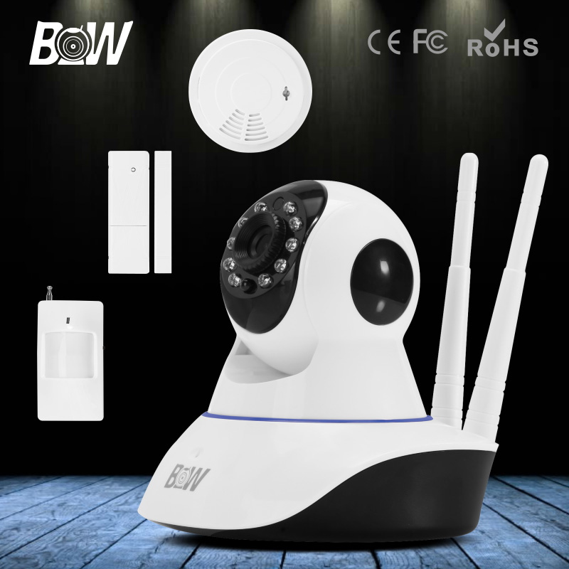 BW HD 720P Security WiFi IP Camera P2P P/T Wireless IP Home Surveillance Camera Door & Motion Sensor and Smoke Detector bw wireless wifi door