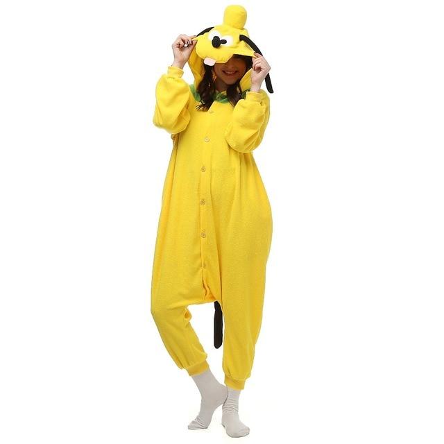 f7457190d91 US $22.64 10% OFF|Kerst Halloween Verjaardagscadeau Pluto Hond Fleece  Onesie Homewear Capuchon Pyjama Nachtkleding Gewaad Voor Volwassenen in  Kerst ...