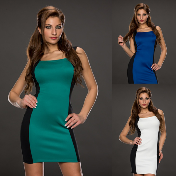 LA17993 New Fashion Green and Black Contrast Dress with Zipper Sexy Club Dress Summer Vintage Dress for Women