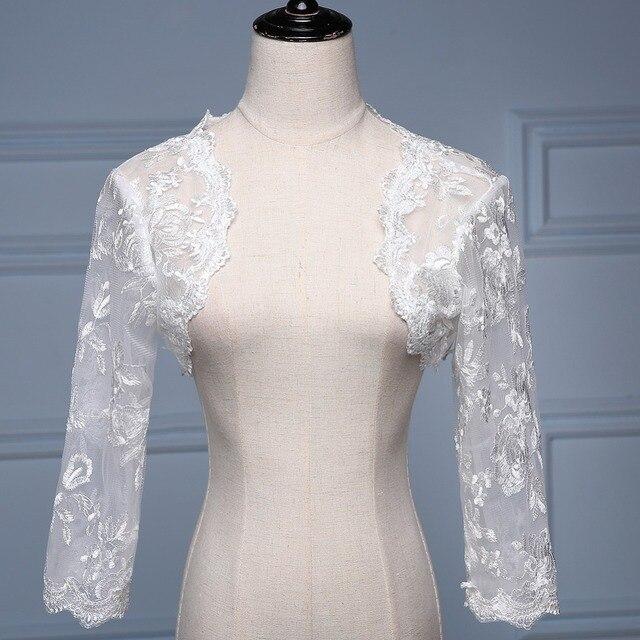 Новый Белый/Слоновая Кость Real Photo 100% 3/4 Рукава Кружева Болеро Свадебные Куртки/Wrap Свадебные Аксессуары