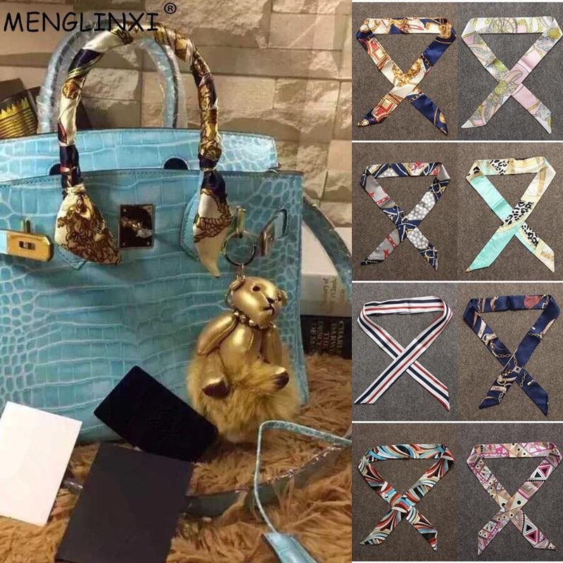 2020 Fashion Skinny Scarf Women Small Print Silk Scarf Letter Plaid Striped Head Scarf Handle Bag Ribbons Brand Scarves Warps