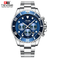 TEVISE Watches Men Luxury Auto Date Chronograph Man Sports Watch Waterproof Stainless Steel Quartz Wristwatch Relogio Masculino