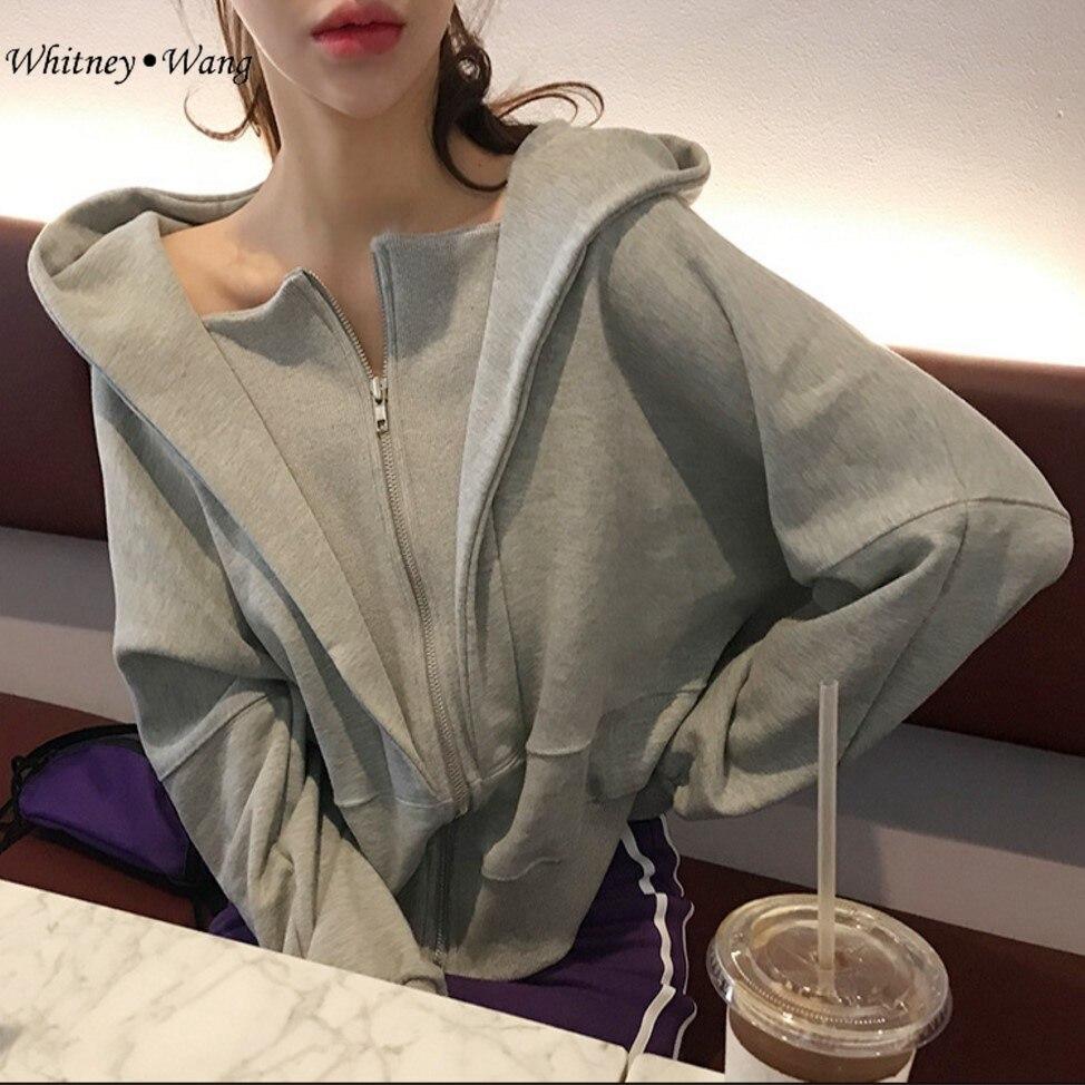 WHITNEY WANG 2019 Spring Autumn Fashion Streetwear Korean Style Zipper Hooded Sweatshirt Women Hoodies Pullovers Свитшот