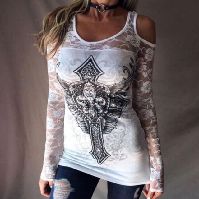 Women T-shirts Lace Hollow Out Shirts Clod Shoulder Tops Tee Shirt Roupa Mujer Loose Shirt Casual Harajuku Girls Punk Black