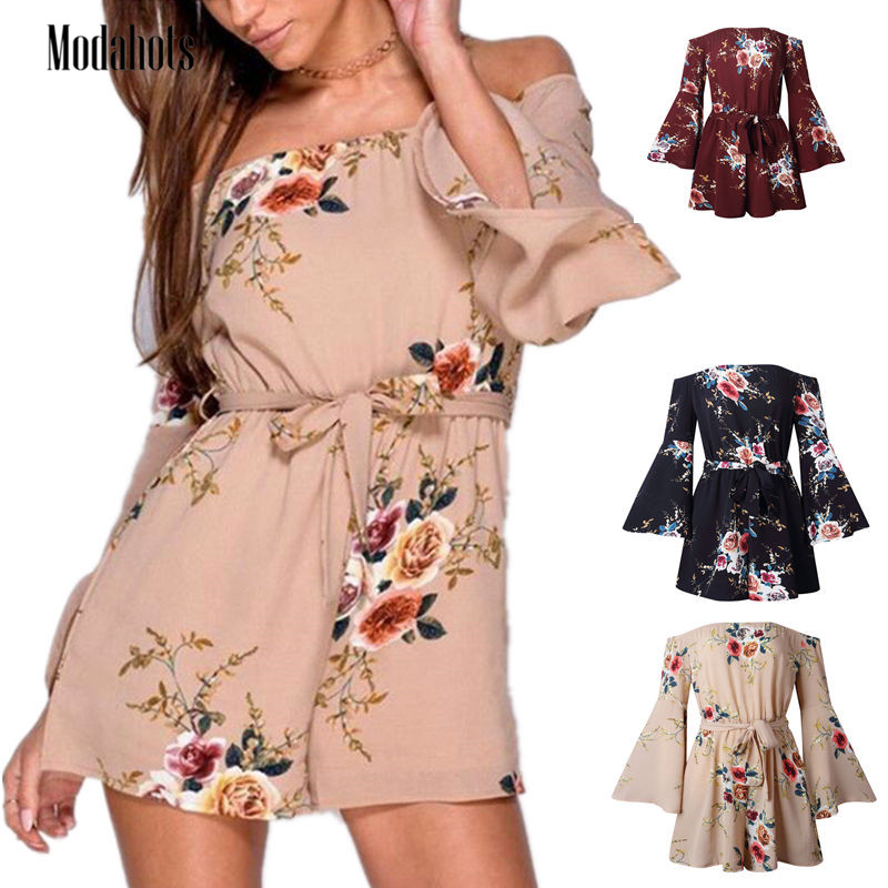 2020 Boho Off Shoulder  Lace Up Strap Floral Print Women Playsuits Series Rompers Summer Beach Sexy Flare Sleeve Short Jumpsuit
