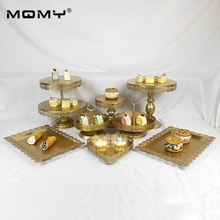 8 pcs New Style Pop Crystal 3 Tier Metal Gold Wedding Cake Stand