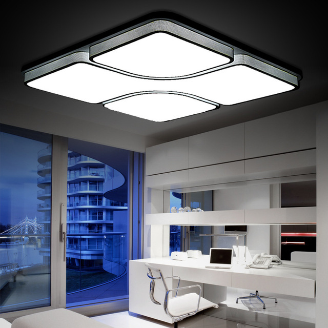 Modern minimalist white metal square stitching design ceiling lamp acrylic lampshade LED chips dimmable