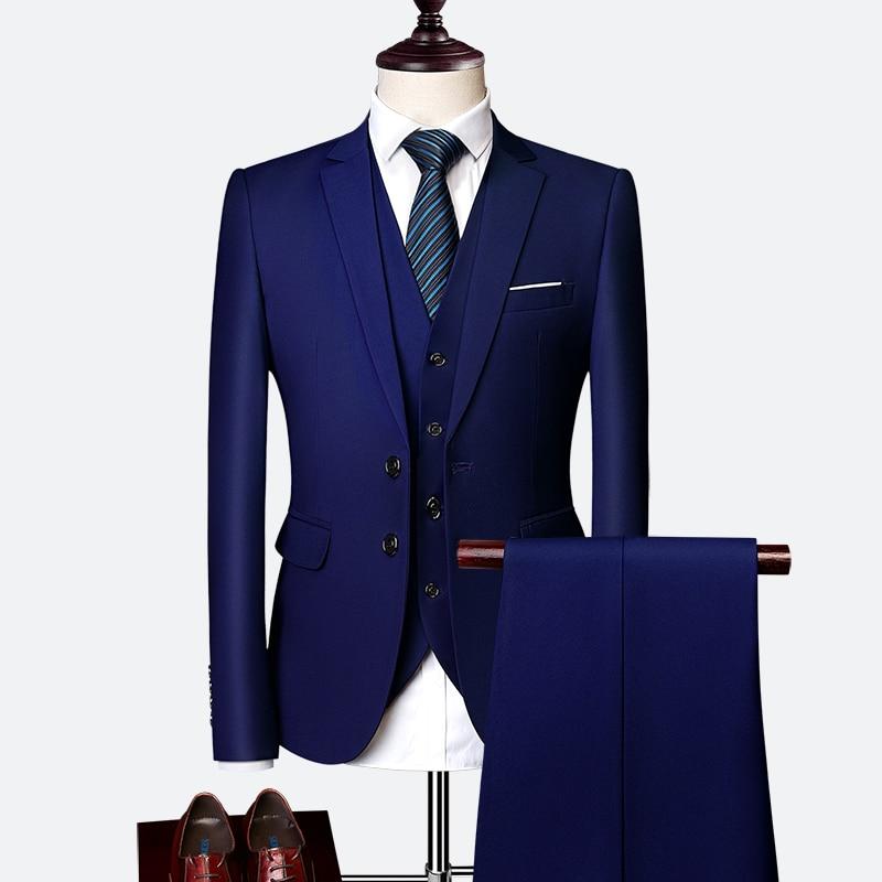 ( Jacket + Vest + Pants ) Fashion Solid Color Groom Wedding Dress Mens Formal Suit Three-piece Stage Men Business Suit Size 6XL
