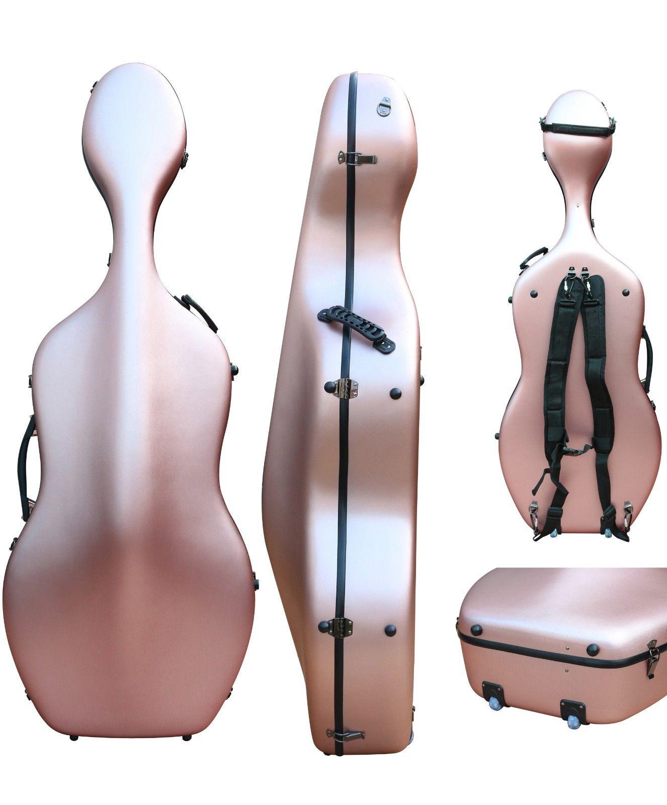 Étui pour violoncelle 4/4 en Fiber de carbone étui rigide pour violoncelle Rose doré lumière forte 3.6 kg