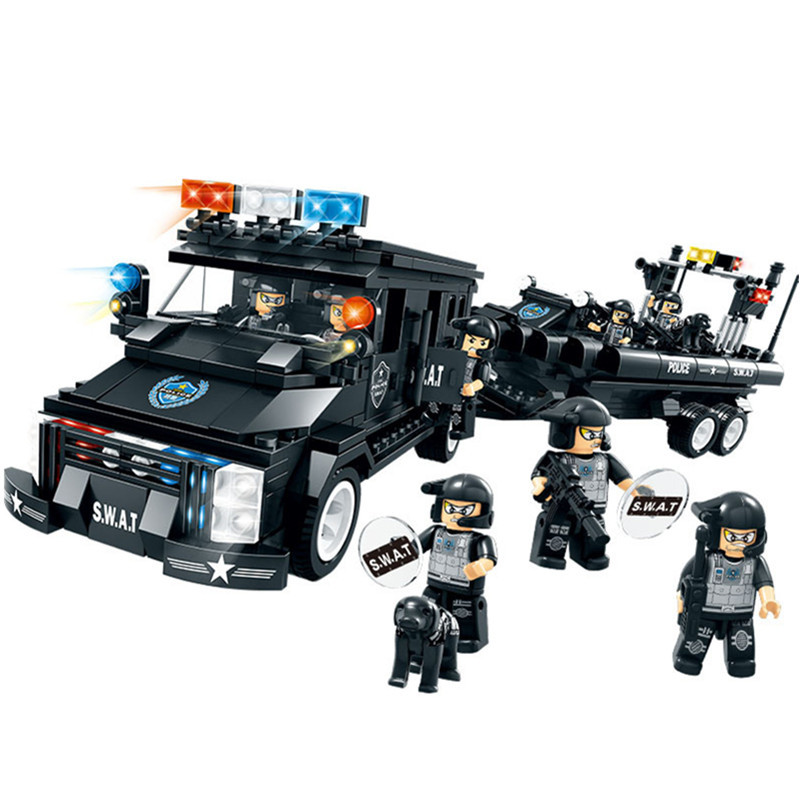 Military SWAT Team Building Blocks Coast Guard Figures Car and Boat Learning Education Brick Toys For Children Boys