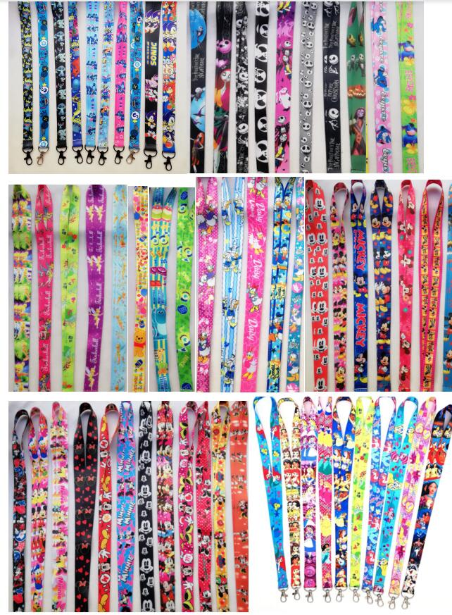 100 pcs mix  cartoon mickey minnie princes stitch Straps Lanyard  ID Badge Holders Mobile Neck Keychains For Party Gift R19-in Key Chains from Jewelry & Accessories    1