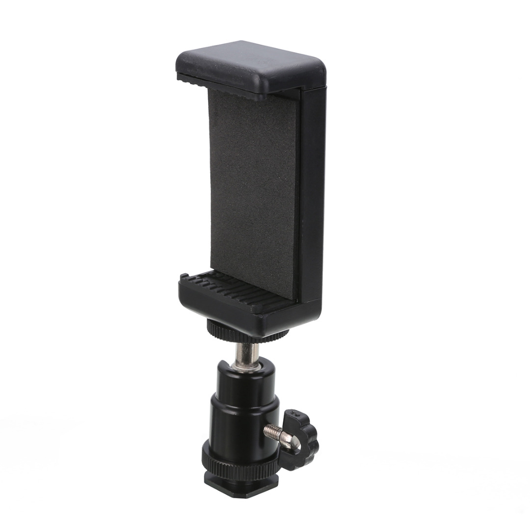 New Arrival 1pc <font><b>360</b></font> Swivel Ball Head Hot <font><b>Shoe</b></font> Adapter Mount With Phone Clip Holder for DSLR Camera Cell Phone image