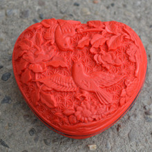 Exquisite Chinese Flower Red Cinnabar Lacquer Beautiful and Bird Auspicious Jewelry Box No.2