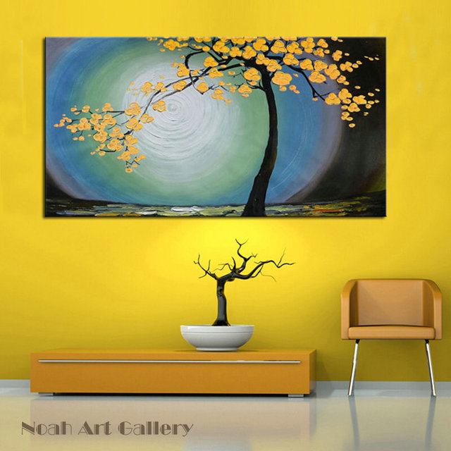 Modern Canvas Wall Art Abstract Yellow Cherry Tree Oil Painting On ...