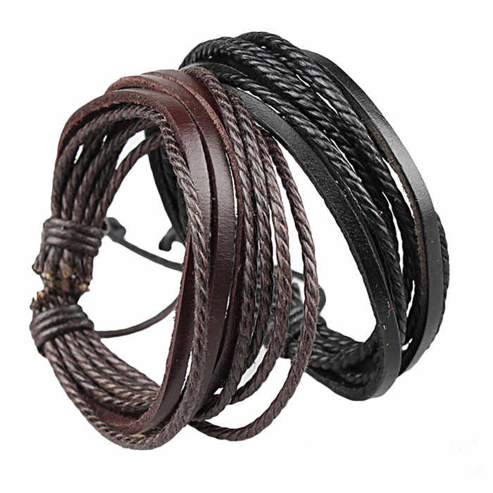 Europe Punk Hand Made Bangles For Men And Women Black And Brown Braided Rope Wristband Cuff Leather Bracelet Adjustable