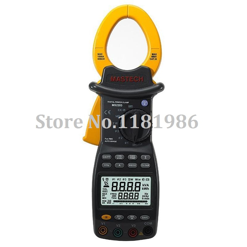 MASTECH MS2203 Wattmeter 3-Phase professional High Sensitivity Clamp Meter Power Factor Correction USB True-RMS 4 Wire Tester