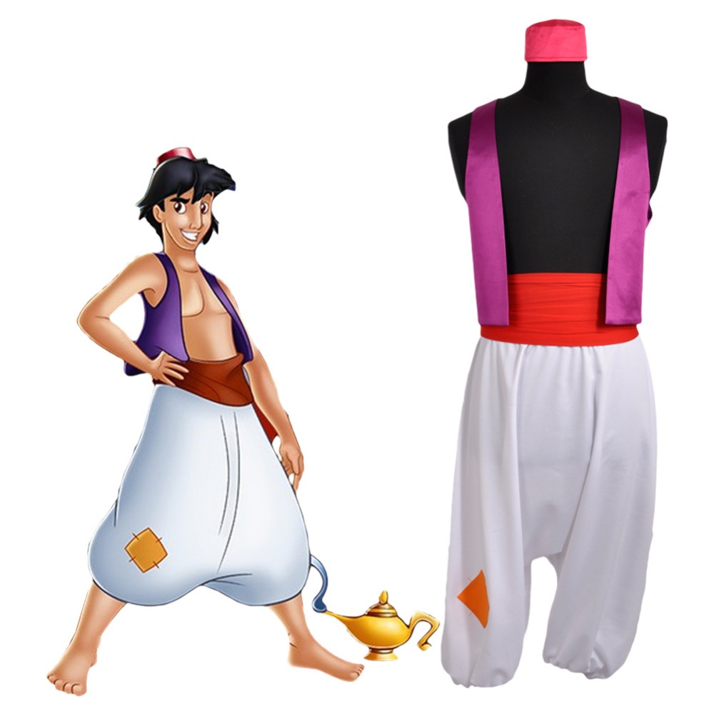 Adult Prince Aladdin Costumes Purple Vest White Pant Show Halloween Halloween Party Cosplay For Men