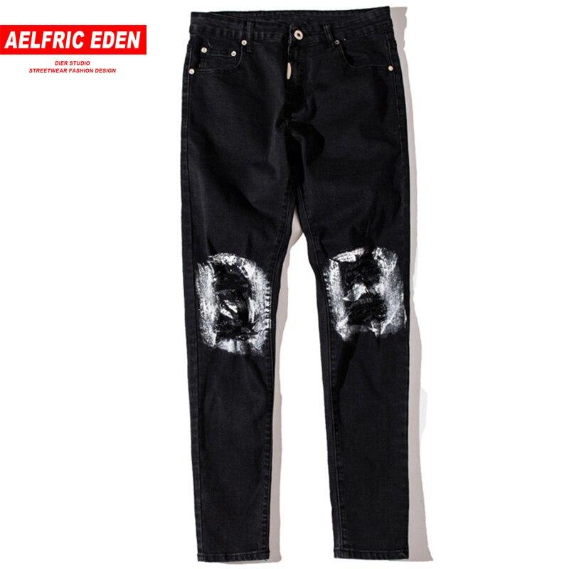 Aelfric Eden Ripped Hole Knee Casual Pants Men Skinny Jeans 2018 Slim Fit Biker Jean Denim Justin Bieber Hip Hop Trousers St17 Convenient To Cook