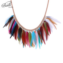 Badu Short Chain Necklace for Party Women Colorful Rooster Feather Collar Choker Rose Gold Necklaces Halloween Wholesale