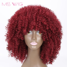 MISS WIG Long Red Black Afro Kinky Curly Wigs for Black Women 250g Synthetic Wigs