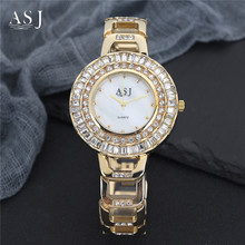 abb28144ceb ASJ 2018 Mulheres Rhinestone Relógios Lady Big Relógio de Pulso Diamante  Top de Luxo Da Marca