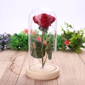 Image 1 - Светодиодная мигающая светящаяся искусственная Роза в стеклянной фоточашке