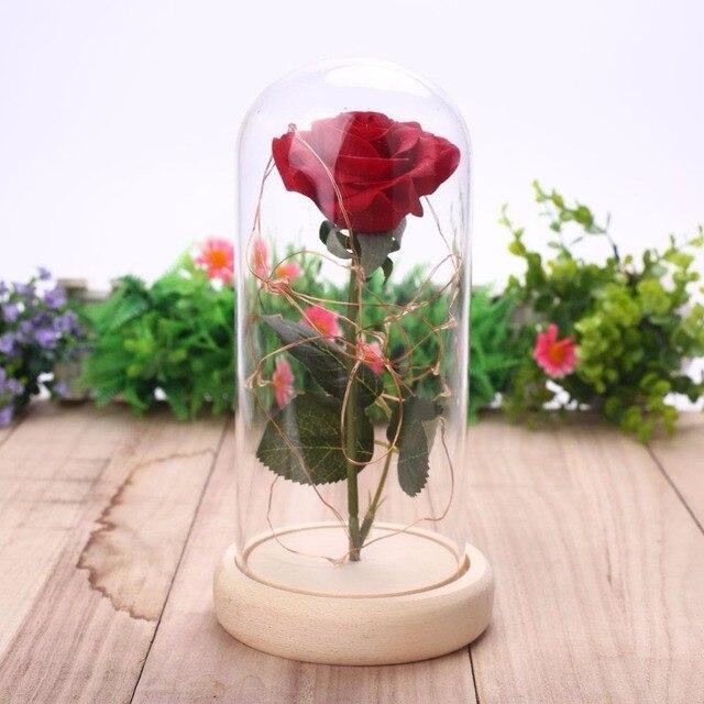Светодиодная мигающая светящаяся искусственная Роза в стеклянной фоточашке