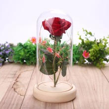 LED Flashing Luminous Artificial Rose in Glass Flask cover cup