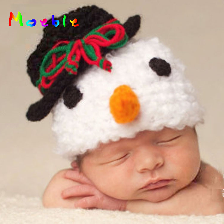 Baby Boys Snowman Photographer Prop Crochet Baby Winter Beanie Hats Knitted Baby Boy Snowman Hat MZS-14120