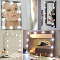LED 10V Makeup Lamp Vanity Mirror lights Dimmable 3 Mode Bedroom Dresser Lamp Hollywood Style Vanity Mirror Light 12 Bulbs Kit