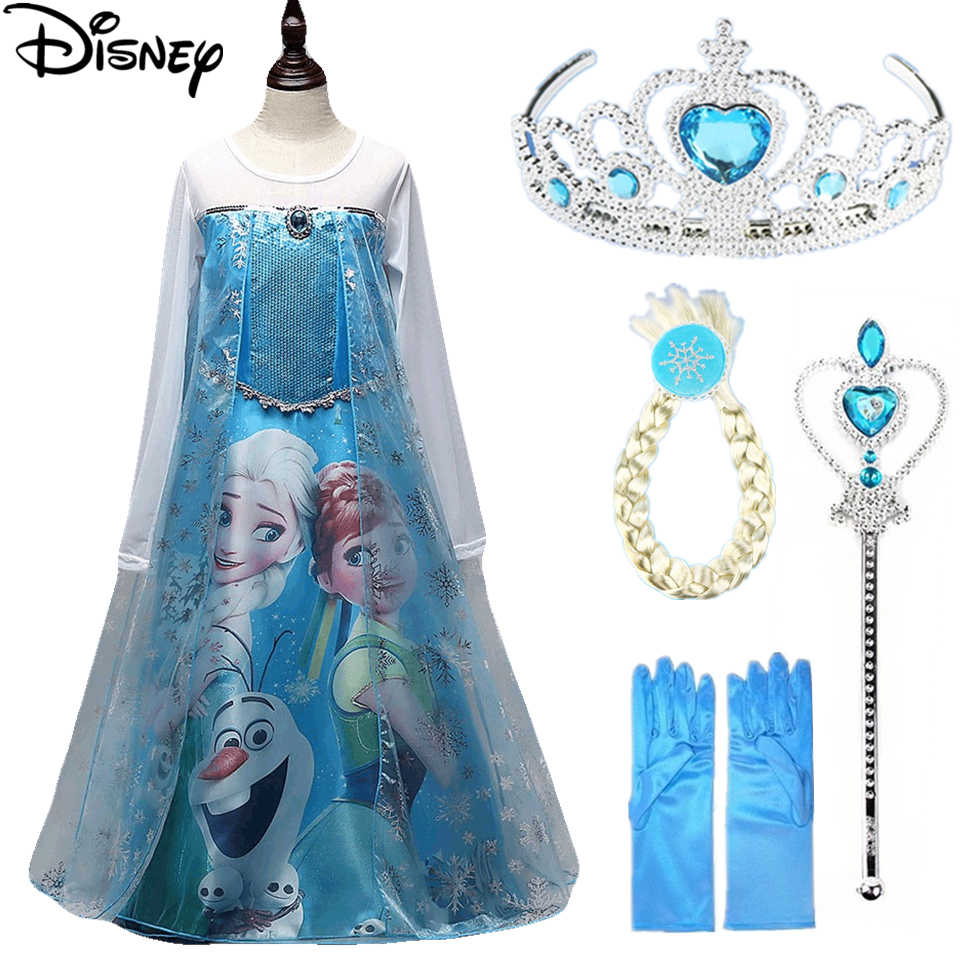 Disney Frozen Girls Elsa Costume Blue Snow queen Princess Dress up with Long Train Halloween Christmas Party paillettes Cosplay